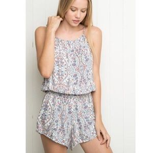 Brandy Melville Blue/White Floral Blanche Romper